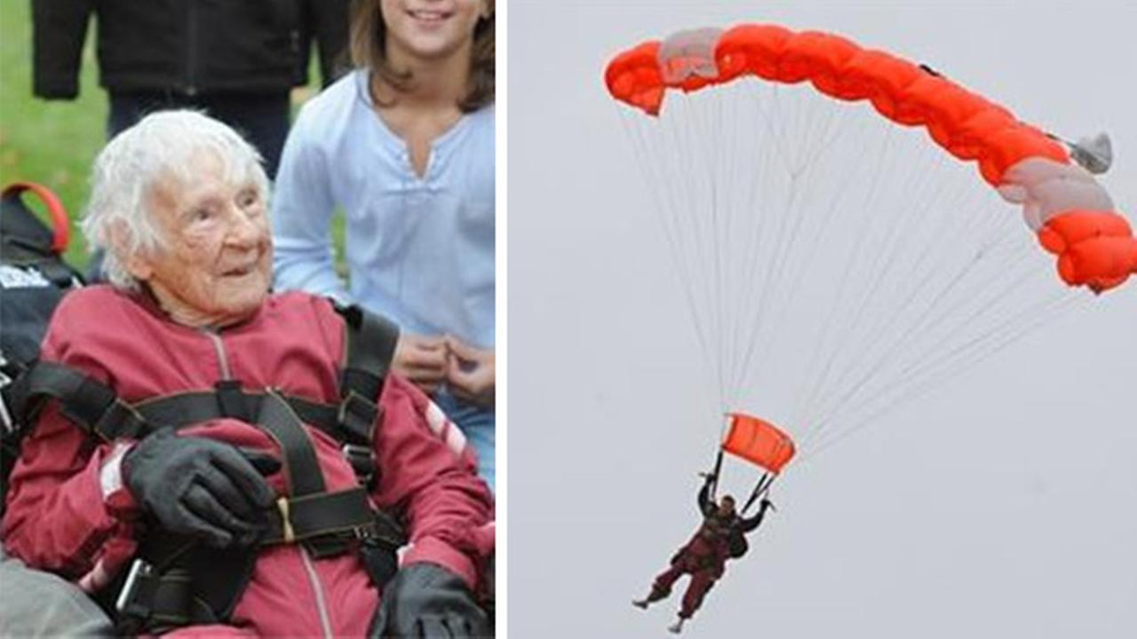 Pictured: Eleanor Cunningham at Saratoga Skydiving Adventures Saturday, Nov. 8, 2014, in Gansevoort, N.Y., a day after her 100th birthday.
