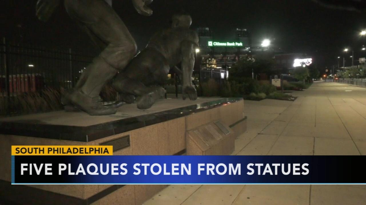 5 brass plaques stolen from Phillies statues in South Philadelphia
