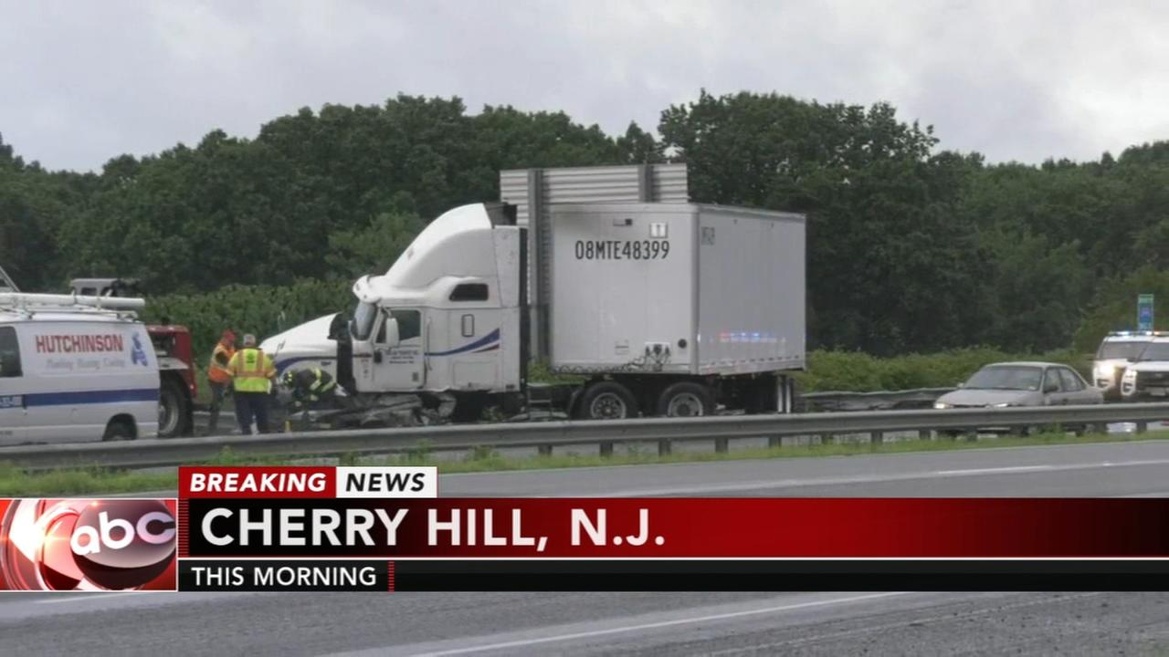 Jackknifed tractor-trailer causes traffic problems on I-295 in Cherry Hill