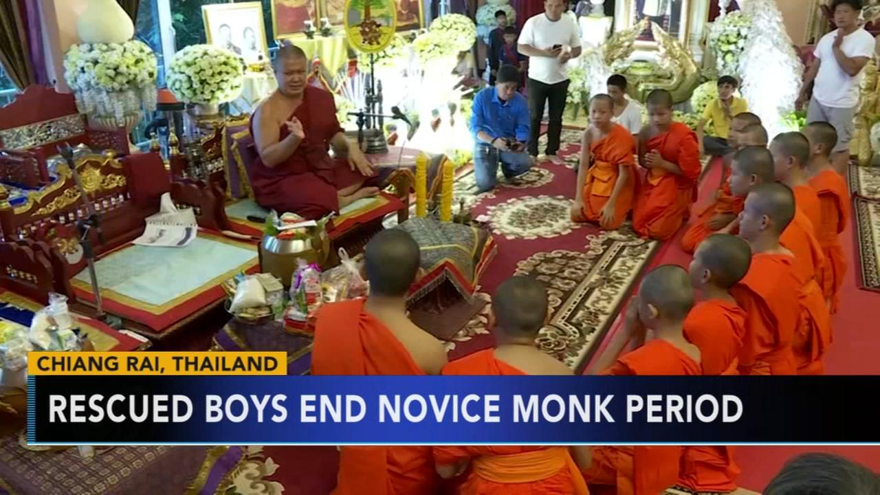 Rescued Thailand soccer players end novice monk period