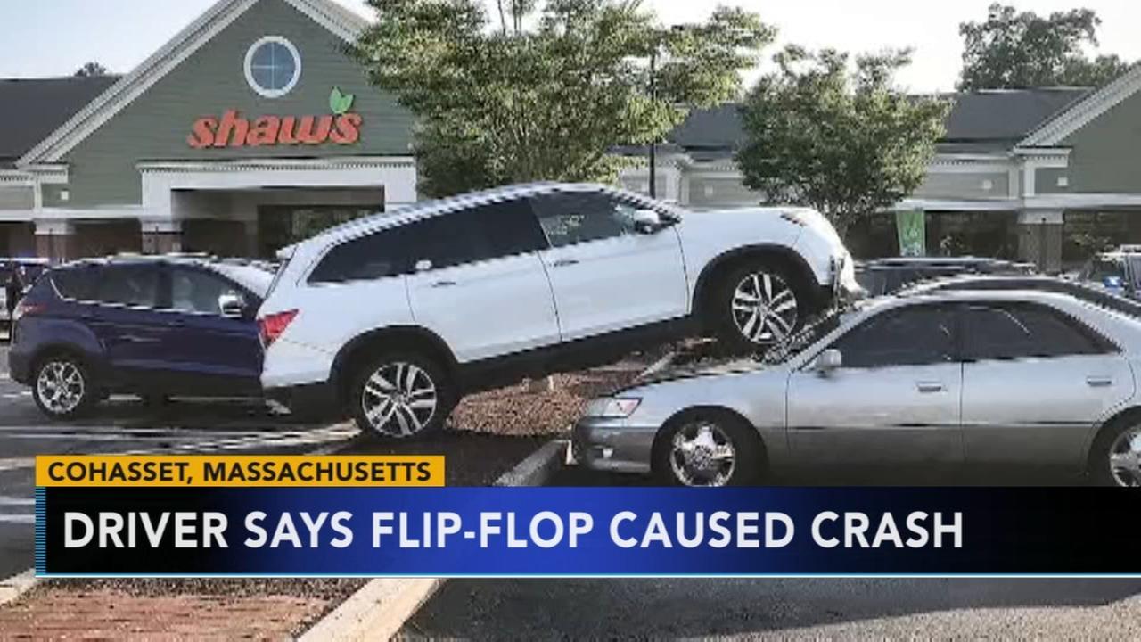 Massachusetts driver blames flip flop on car crash
