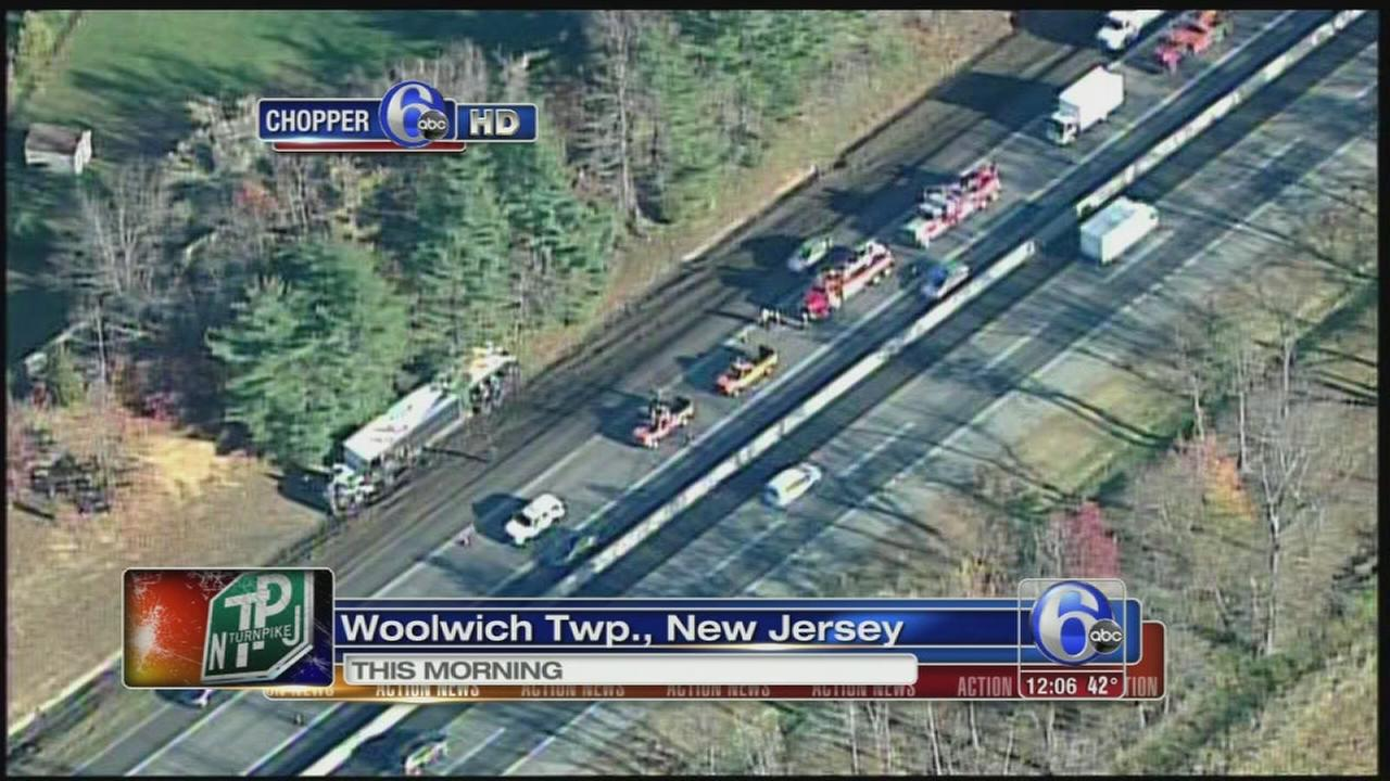 VIDEO: Tractor-trailer overturns on NJ Turnpike
