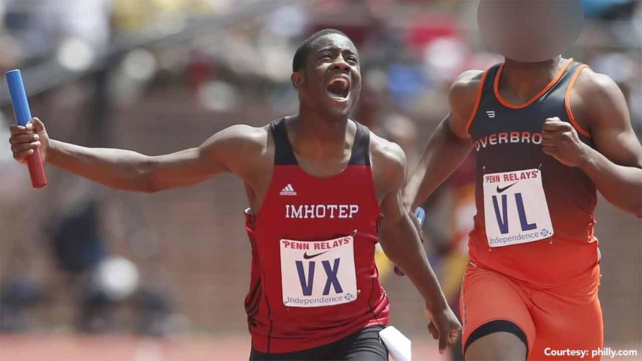 Kristian Marche is pictured above competing in the Penn Relays for Imhotep Institute Charter High School.