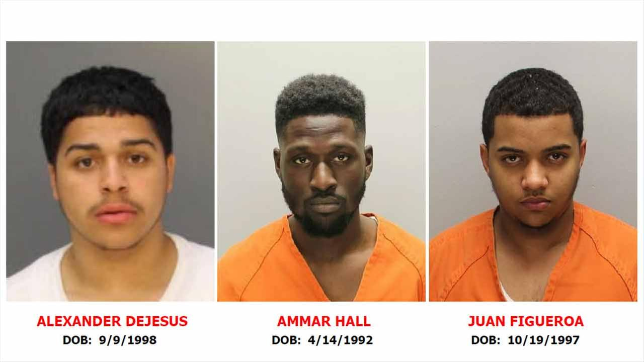 Arrest warrants have been issued for Alexander DeJesus (left), Ammar Hall (center), and Juan Figueroa in the shooting of two detectives in Camden, New Jersey on August 7, 2018.