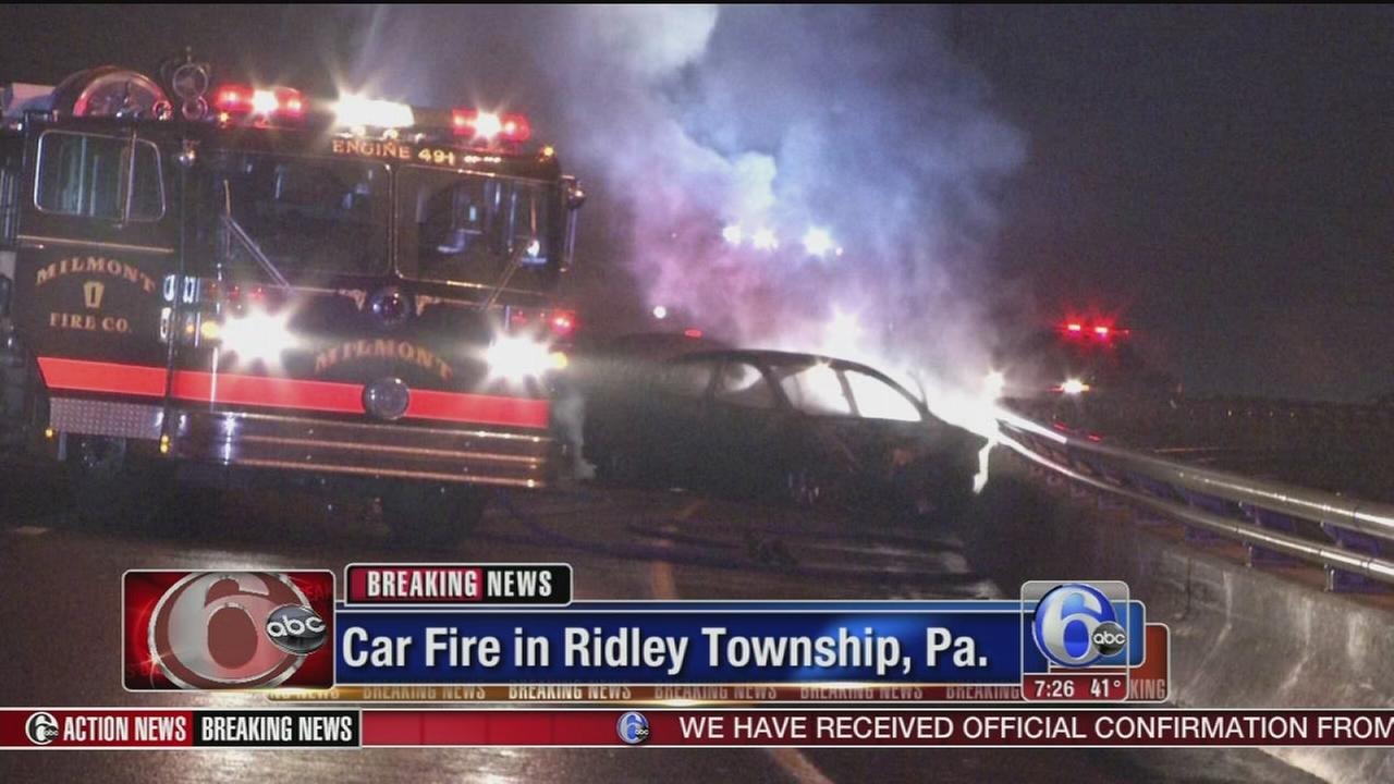 VIDEO: Car fire slows traffic on I-95 in Delco