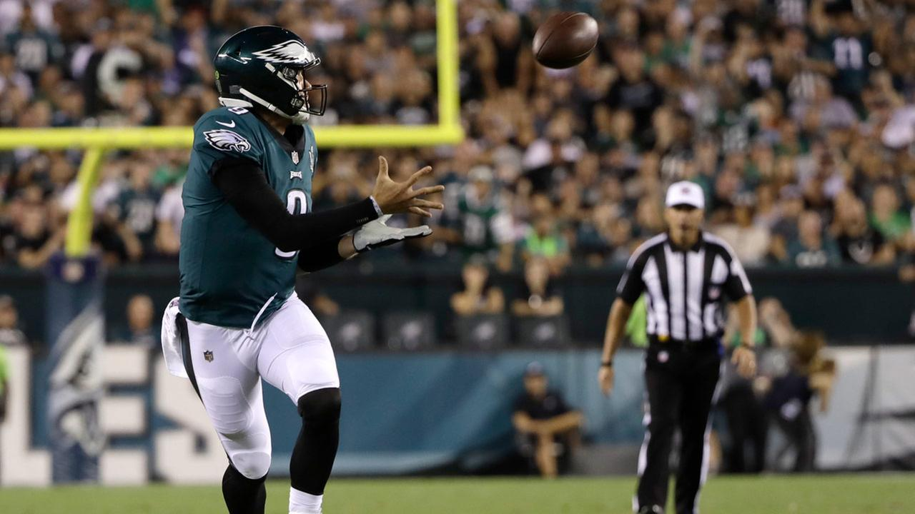 Philadelphia Eagles quarterback Nick Foles catches a pass during the second half of the teams NFL football game against the Atlanta Falcons, Thursday, Sept. 6, 2018.