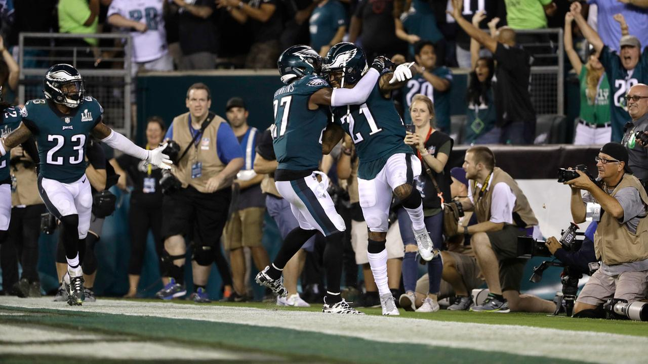 Philadelphia Eagles Malcolm Jenkins, left, and Ronald Darby celebrate after an NFL football game against the Atlanta Falcons.