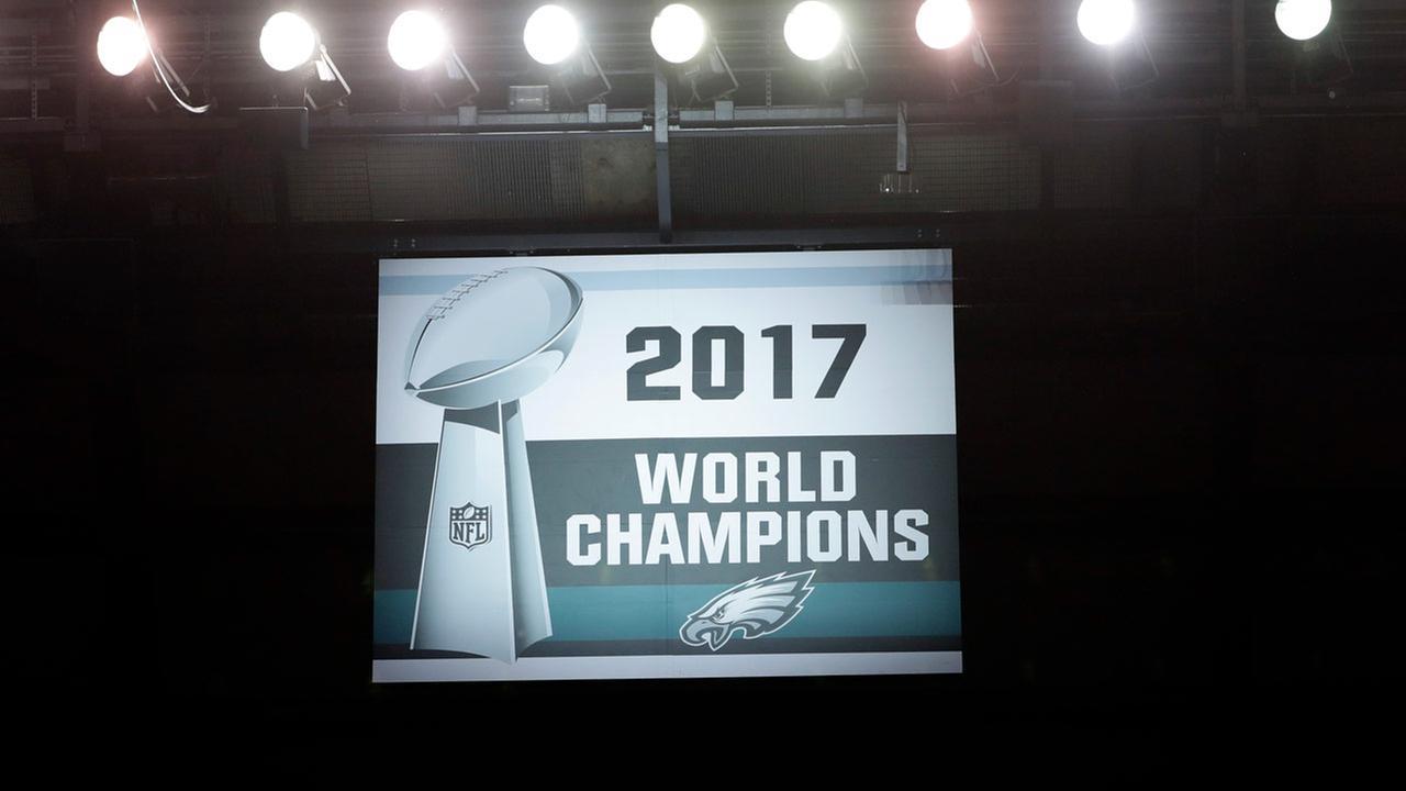 The Philadelphia Eagles Super Bowl banner is seen at Lincoln Financial Field. (AP Photo/Matt Rourke)