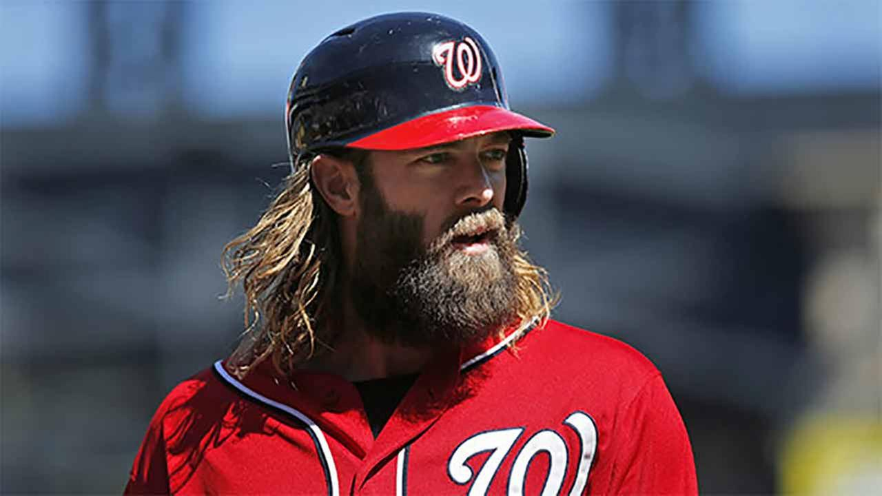Washington Nationals Jayson Werth during the first inning of the baseball game against the New York Mets at Citi Field, Sunday, Sept. 14, 2014 in New York.