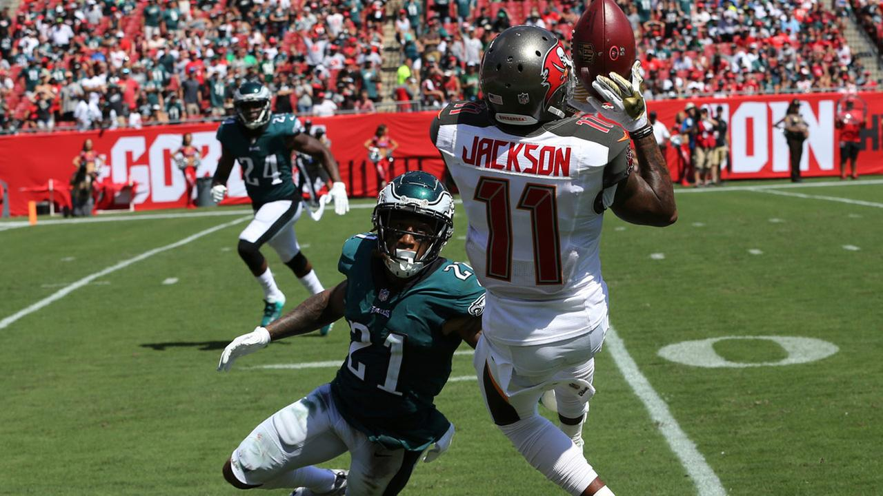 Tampa Bay Buccaneers wide receiver DeSean Jackson (11) grabs a pass over Philadelphia Eagles cornerback Ronald Darby (21).