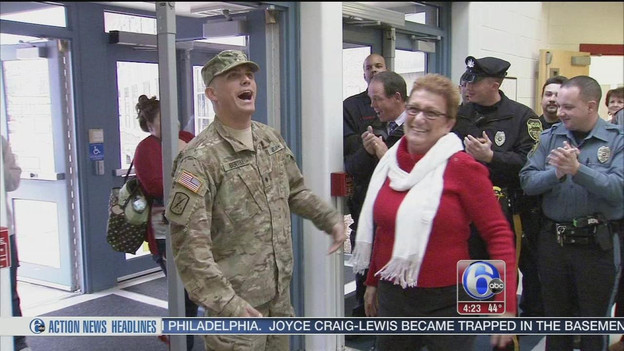VIDEO: Soldier receives warm welcome home at Delco school