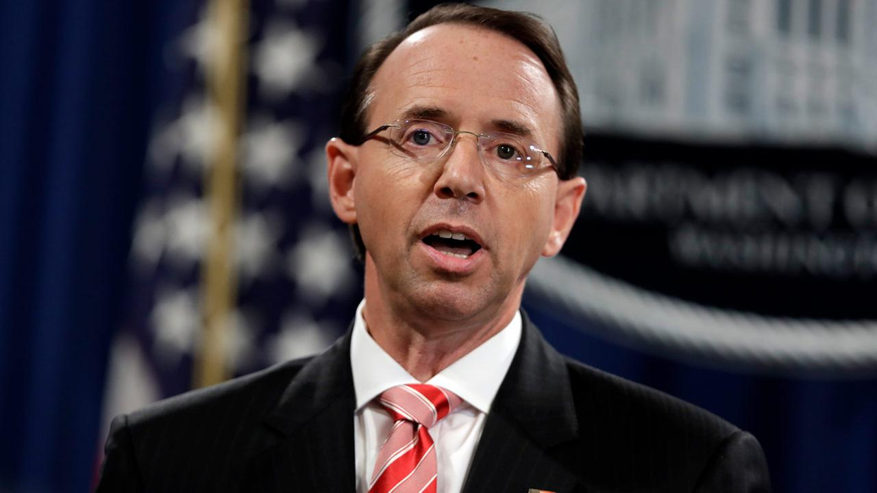 FILE - In this July 13, 2018, file photo, Deputy Attorney General Rod Rosenstein speaks during a news conference at the Department of Justice.
