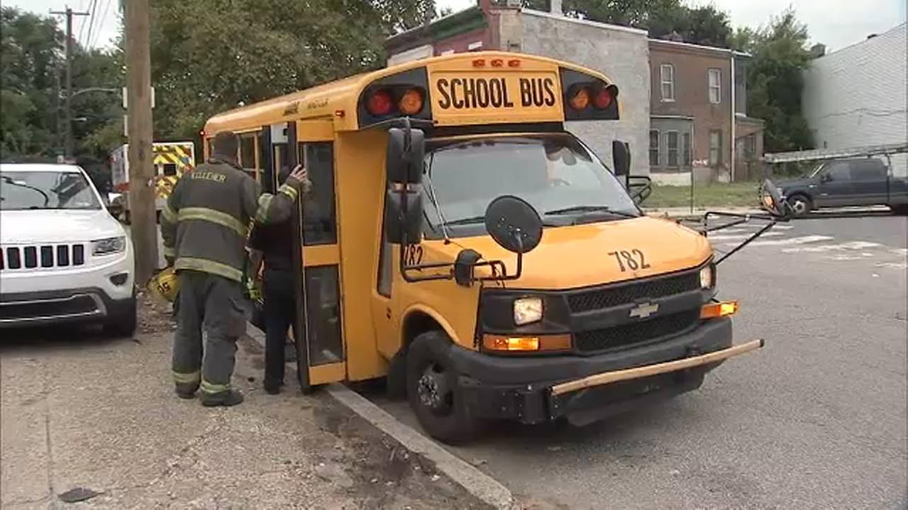 Car and school bus collide in North Philadelphia