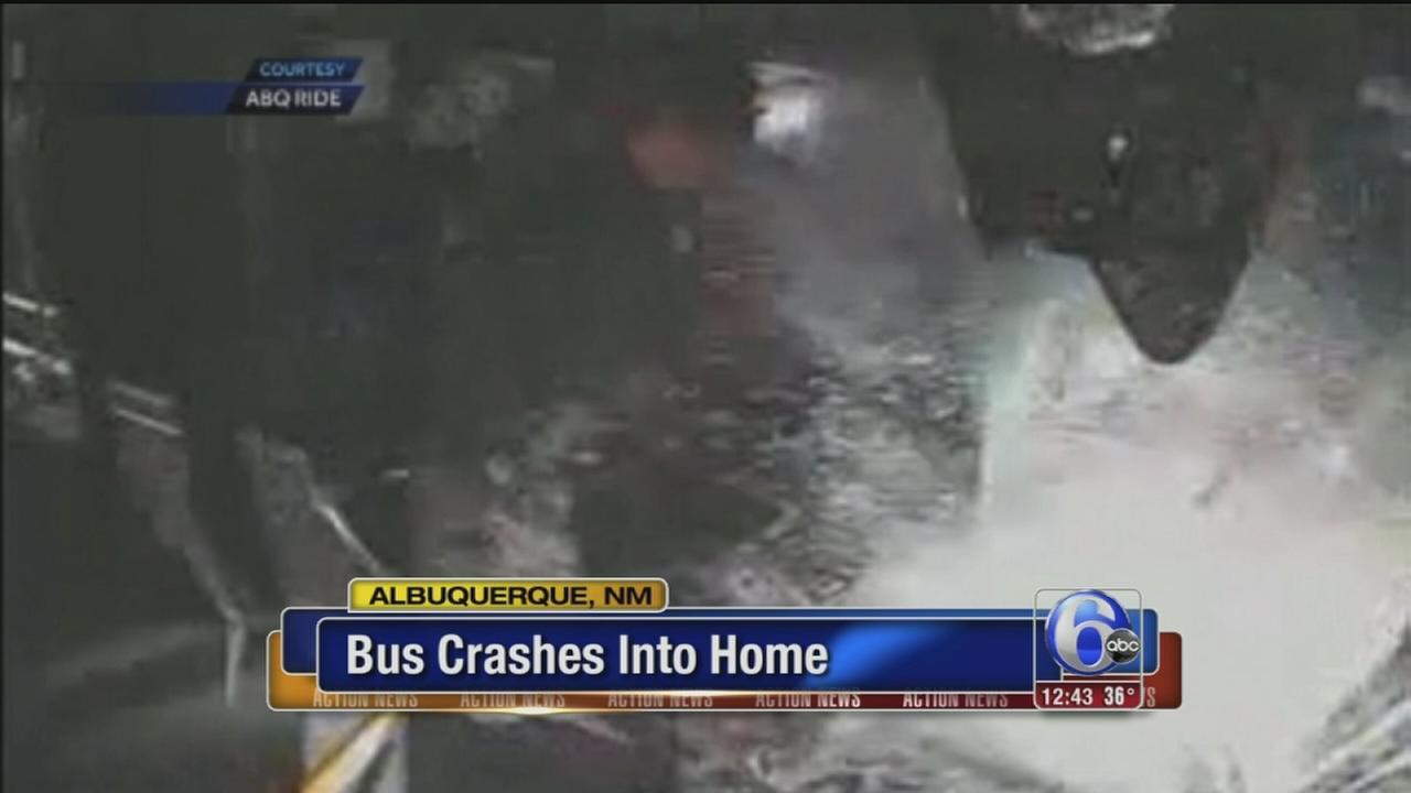 VIDEO: Bus crashes into home