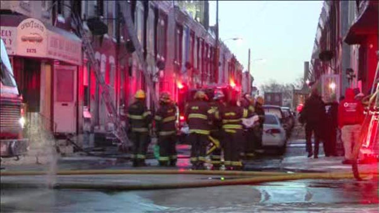 Flames erupt in row-home in North Philadelphia