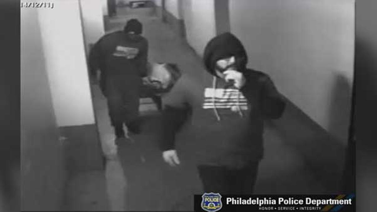 Philadelphia police are searching for two suspects who assaulted a store clerk during a robbery in University City.