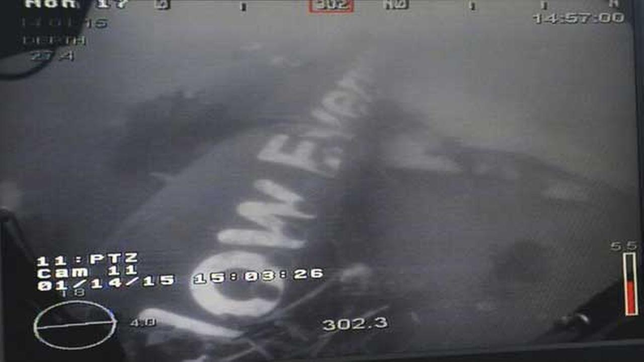 This undated underwater photo shows the wreckage of AirAsia Flight QZ 8501 lying on the sea floor in the Java Sea.