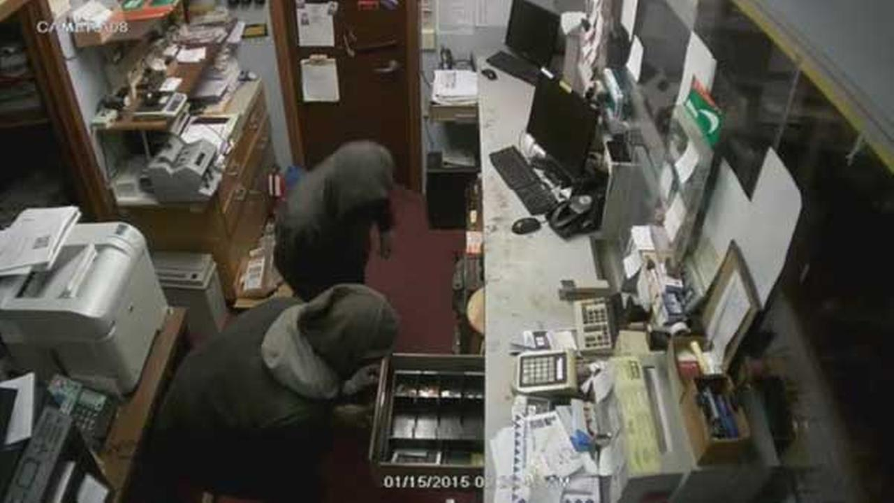 Philadelphia police are searching for two suspects who burglarized a check cashing store in the citys Kensington section.