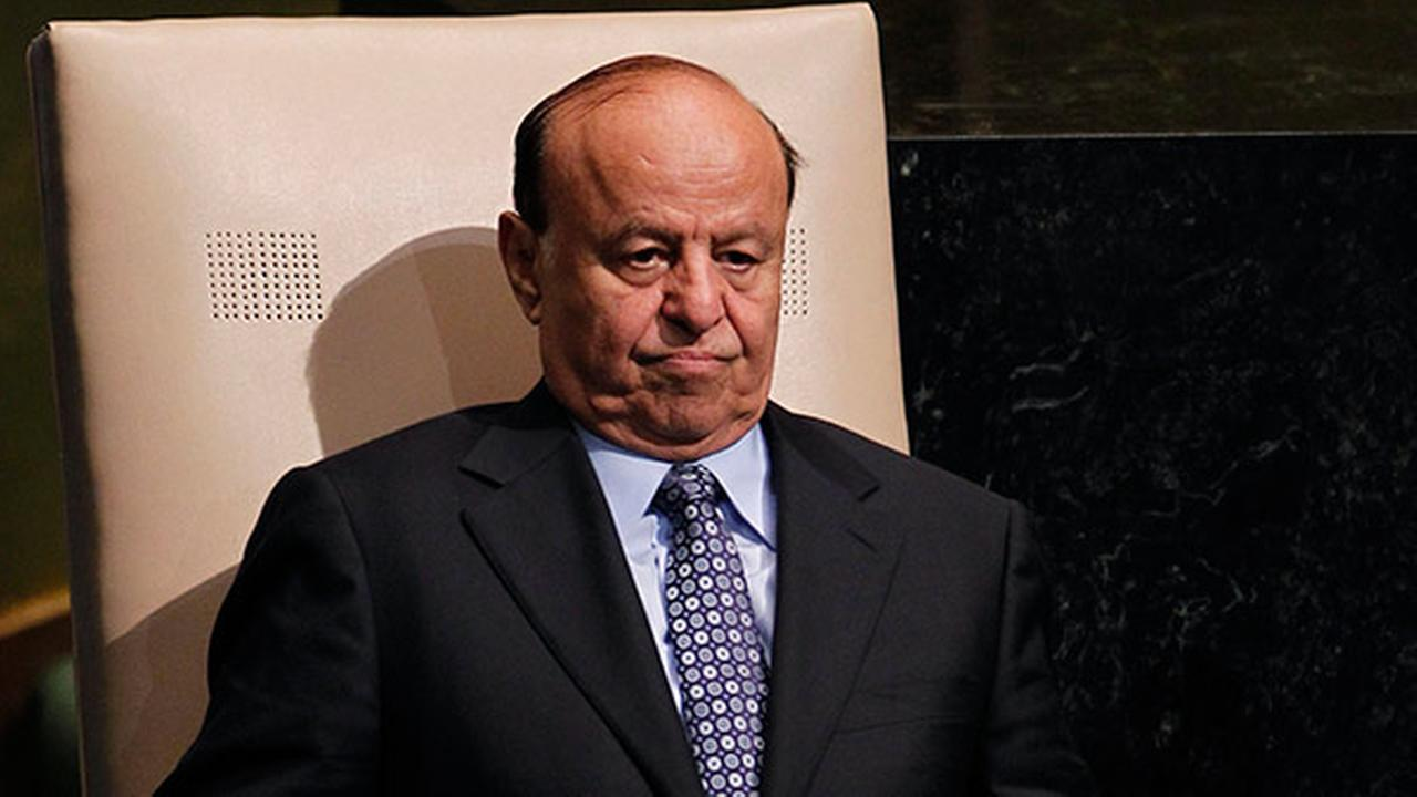 FILE - In this Wednesday, Sept. 26, 2012 file photo, Abed Rabbo Mansour Hadi, President of Yemen, sits after addressing the 67th session of the United Nations General Assembly.