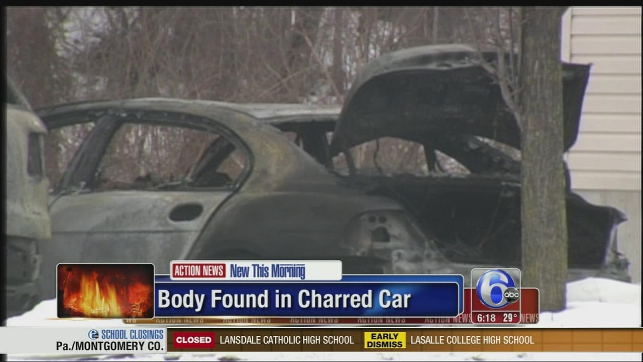 VIDEO: Body found in charred car in Berks Co.