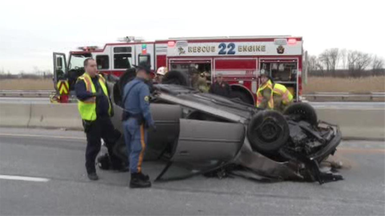 Driver seriously injured when car overturns on I-95