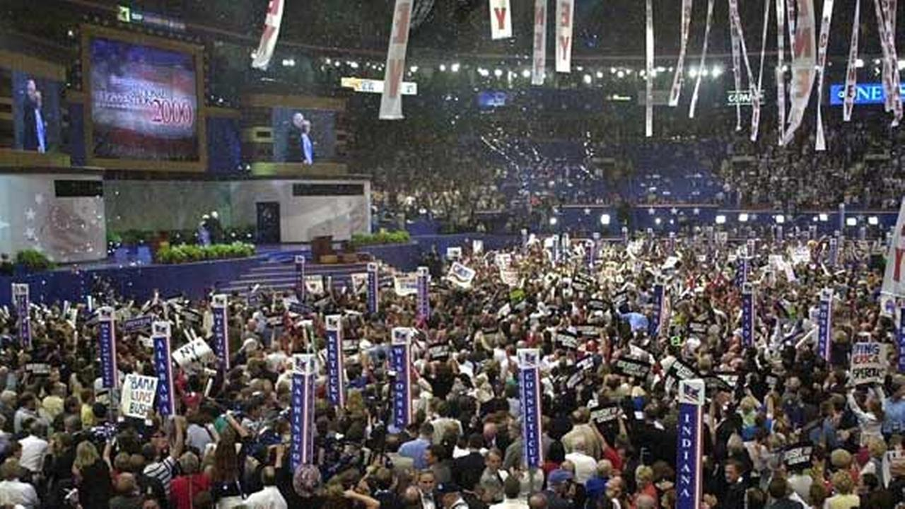 The floor of the Republican National Convention is seen as delegates celebrate the nomination of Dick Cheney.