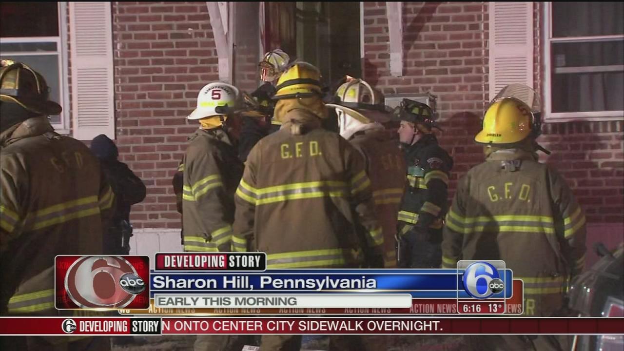 VIDEO: Fire crews battle basement blaze in Sharon Hill