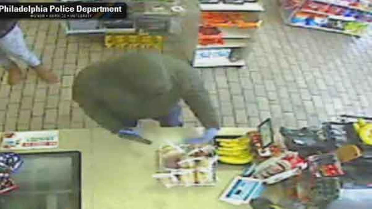 Philadelphia police are on the hunt for a gunman who robbed a 7-Eleven store in the citys Olney section Monday morning.