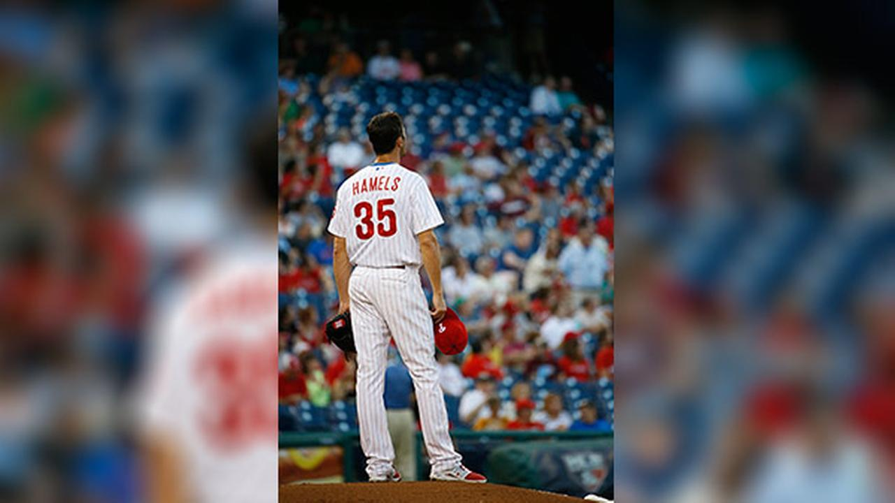 Philadelphia Phillies Cole Hamels pitches during a baseball game against the Washington Nationals, Tuesday, Aug. 26, 2014, in Philadelphia.