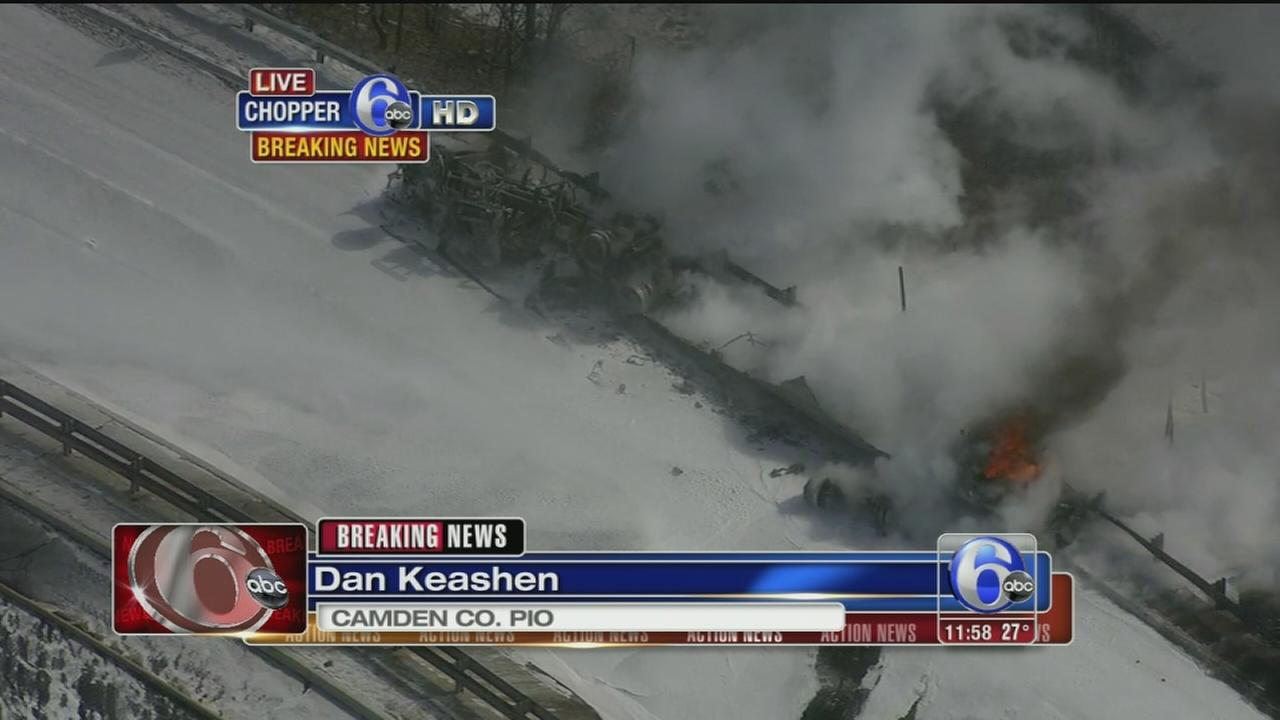 VIDEO: Foam being sprayed on the fire