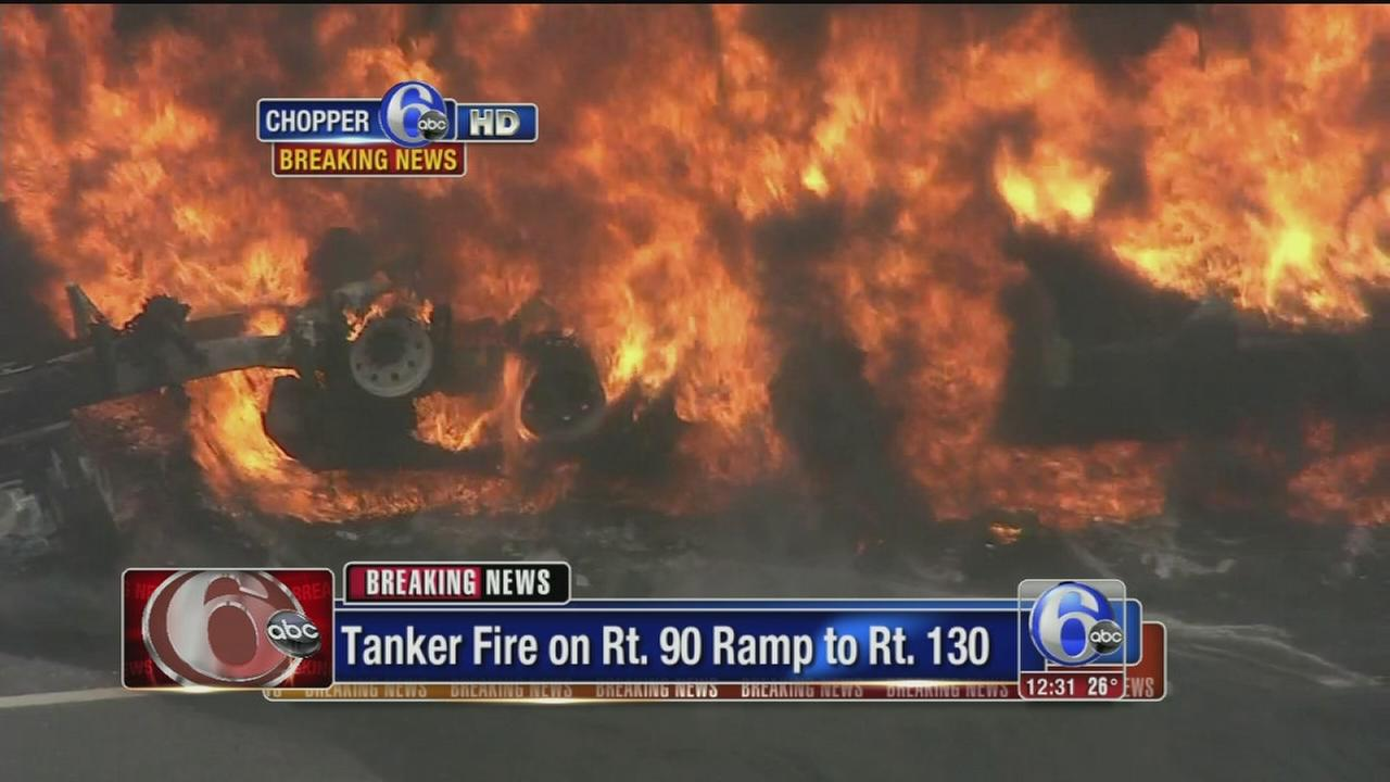 VIDEO: Tanker bursts into flames in Pennsauken