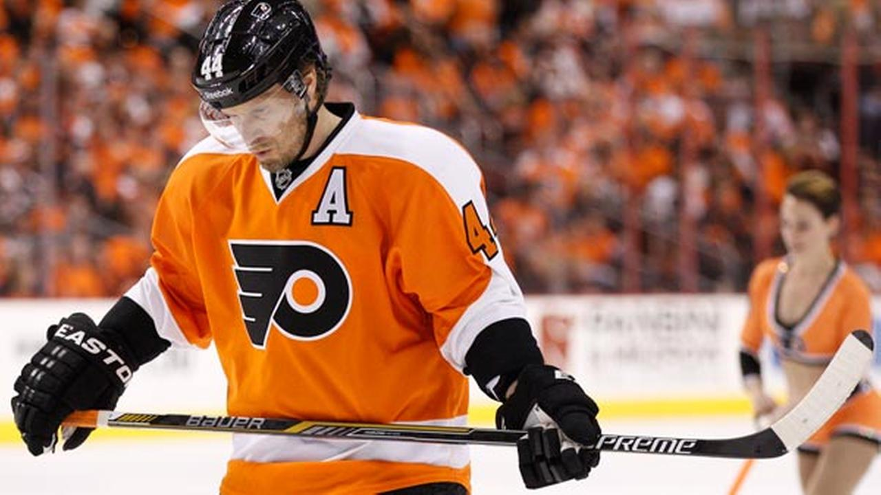 Philadelphia Flyers Kimmo Timonen of Finland reacts during the first period in Game 3 of an NHL hockey first-round playoff series against the New York Rangers.