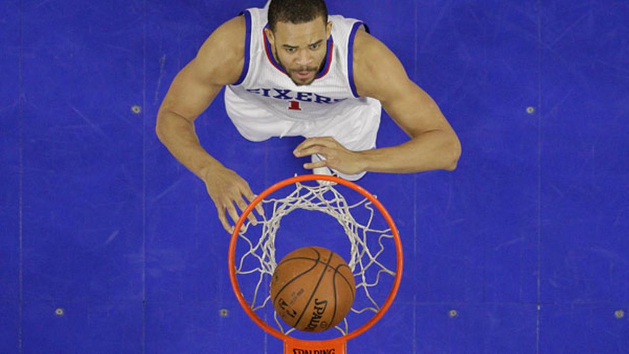 Philadelphia 76ers JaVale McGee in action during an NBA basketball game against the Indiana Pacers, Friday, Feb. 20, 2015, in Philadelphia.