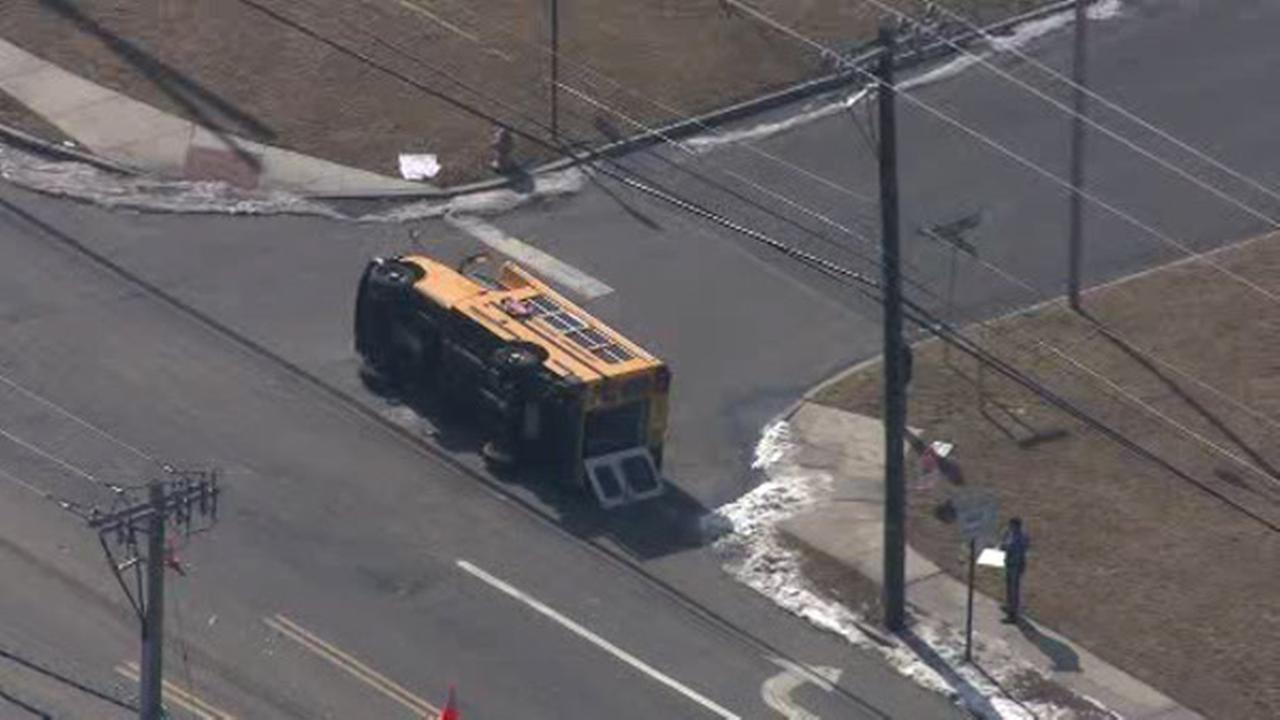 School bus overturns in Lumberton, NJ