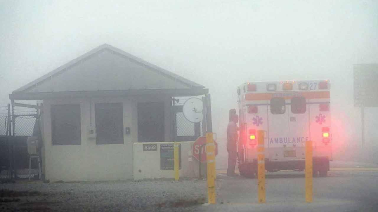 An Okaloosa County ambulance sits at the Eglin Air Force entrance in Fort Walton Beach, Fla., Wednesday, March 11, 2015.