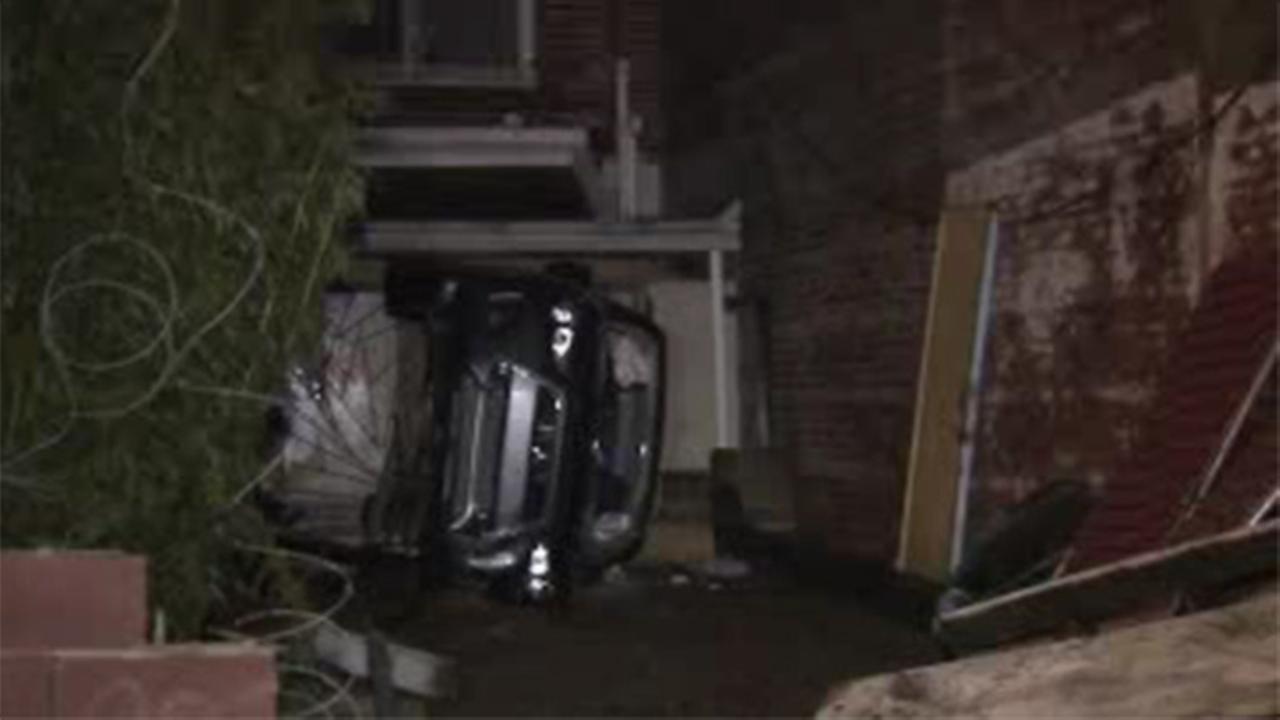 Car lands on its side in South Philadelphia crash, 2 injured