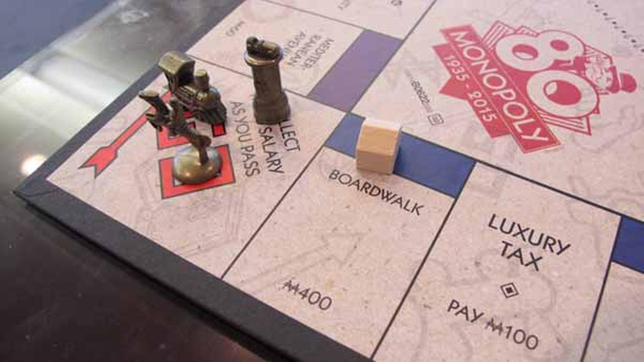 This photo shows a Monopoly board in Atlantic City, NJ - the city on whose real-life streets the Monopoly board game is based. The board game turns 80 years old on March 19, 2015.