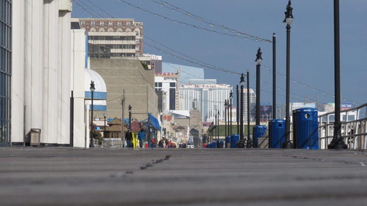In this Wednesday, Feb. 6, 2013 photo, the Atlantic City, N.J., Boardwalk is nearly deserted on a cold mid-week day.