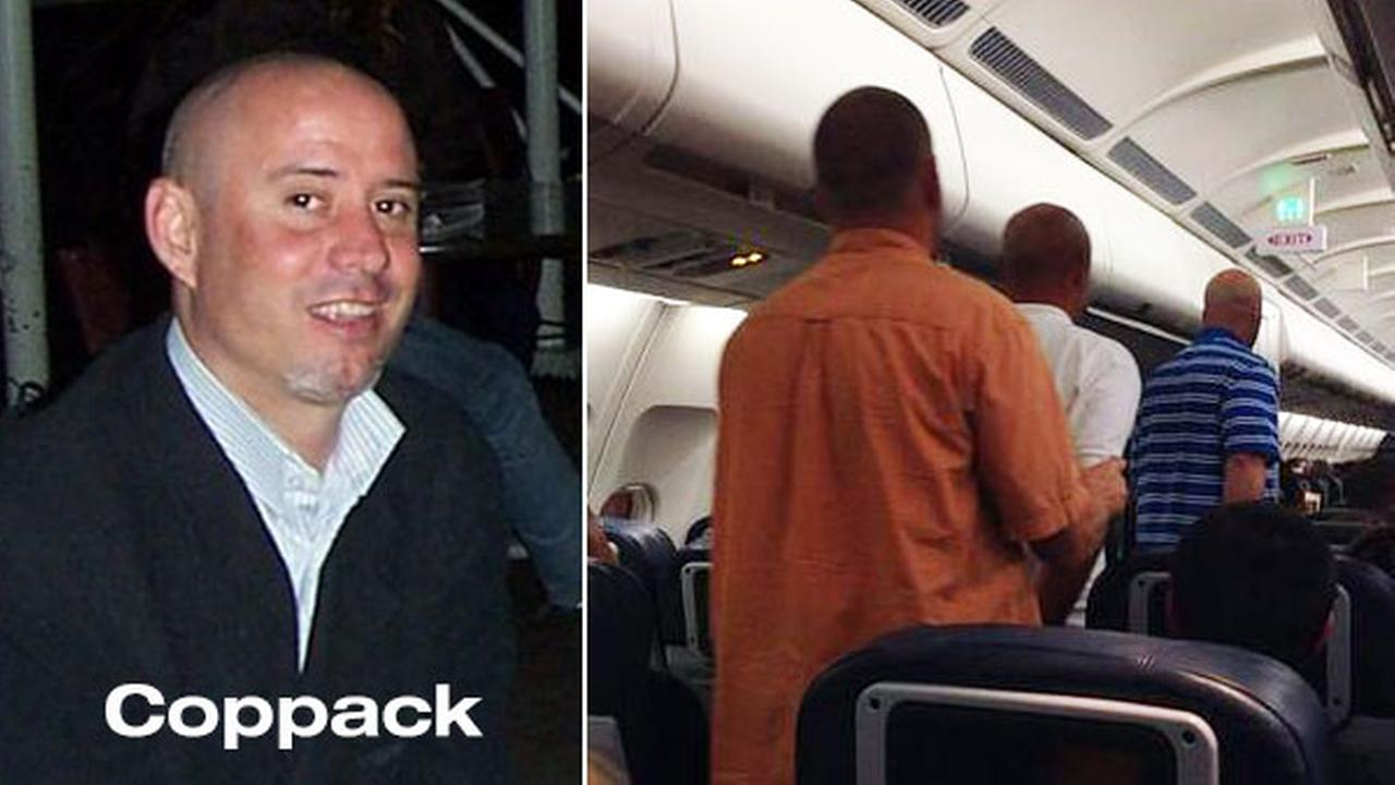 The passenger that caused a flight to London to return to PHL has been identified as Robert Coppack. The image on the right is courtesy Kevin Weissman/@KCWeissman.