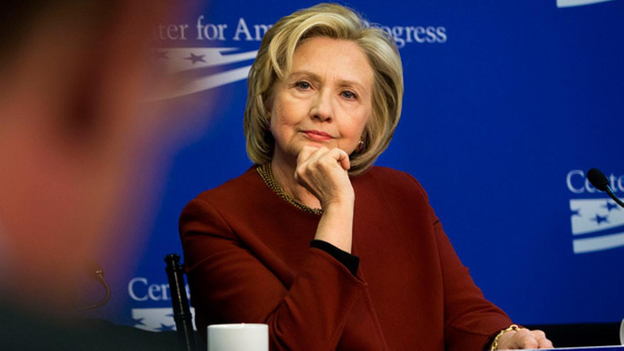 In this photo taken March 23, 2015, former Secretary of State Hillary Rodham Clinton listens during an event hosted by the Center for American Progress (CAP)