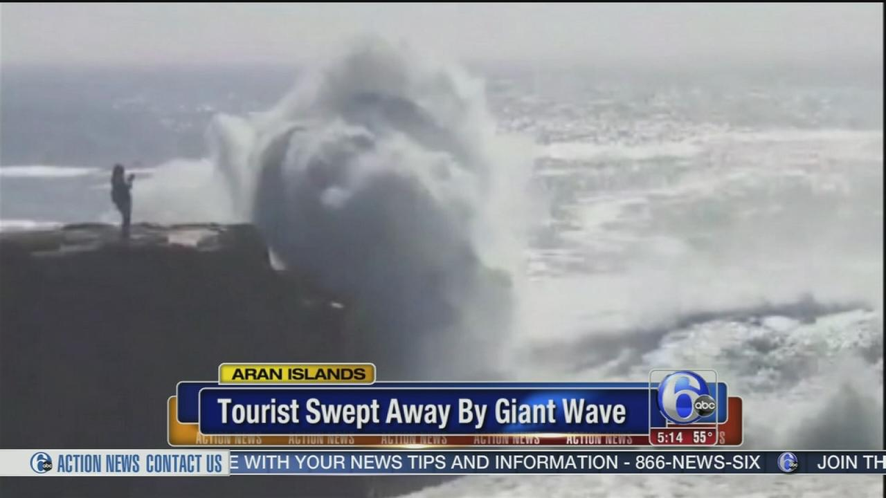 VIDEO: Tourist swept away by giant wave