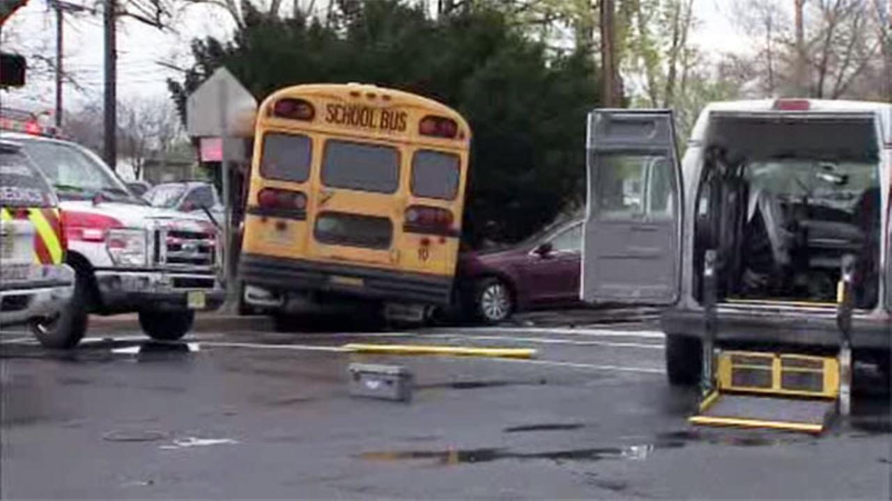 School bus, medical transport van, and car collide in Mercer Co.