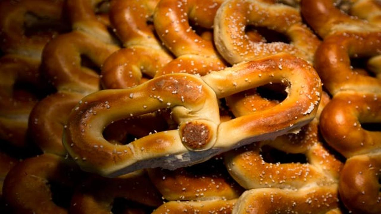 This April 2, 2015 photo shows pretzels at a Philly Pretzel Factory in Philadelphia.