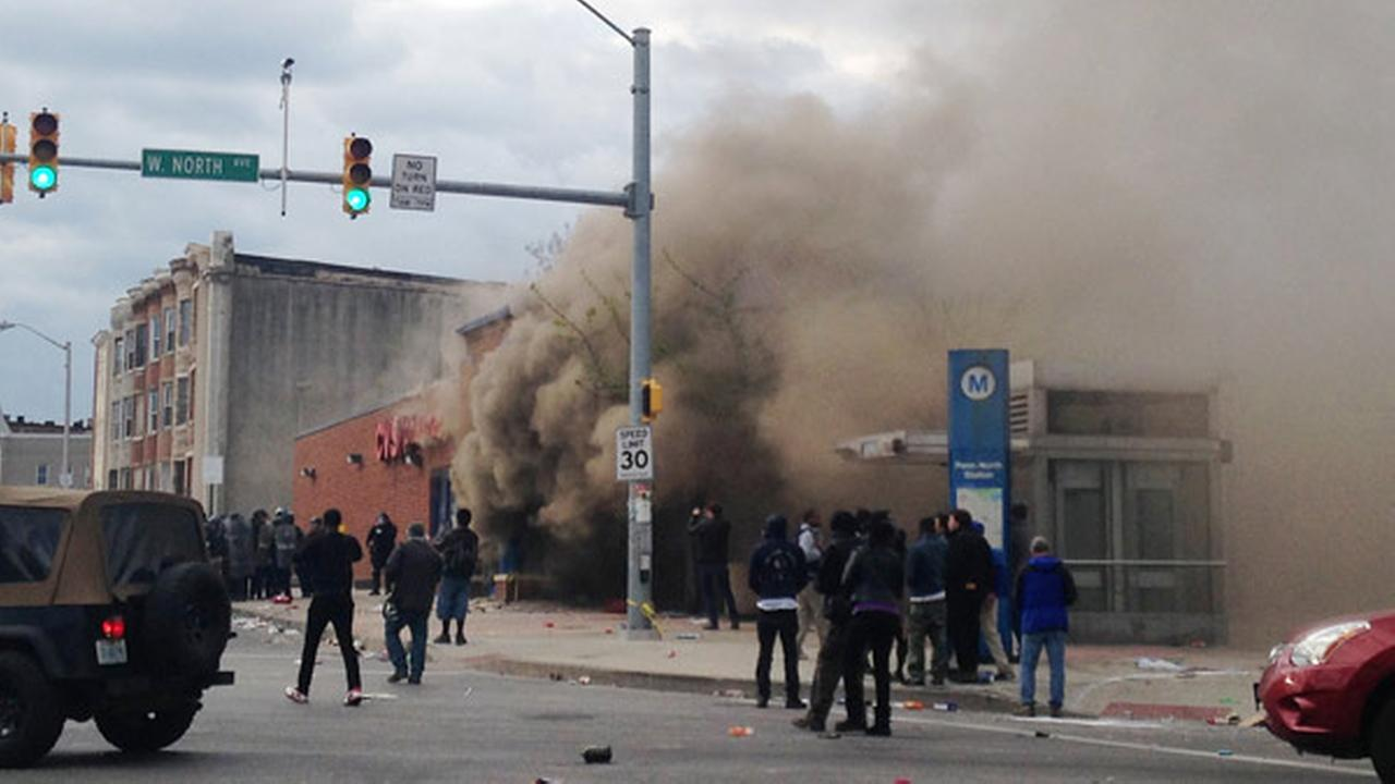 Smoke billows from a CVS Pharmacy store in Baltimore on Monday, April 27, 2015.