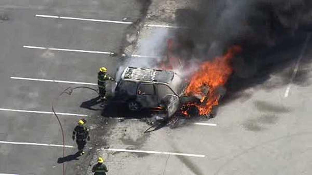 An SUV was destroyed after catching fire in a parking lot in Philadelphias Frankford section Wednesday morning.