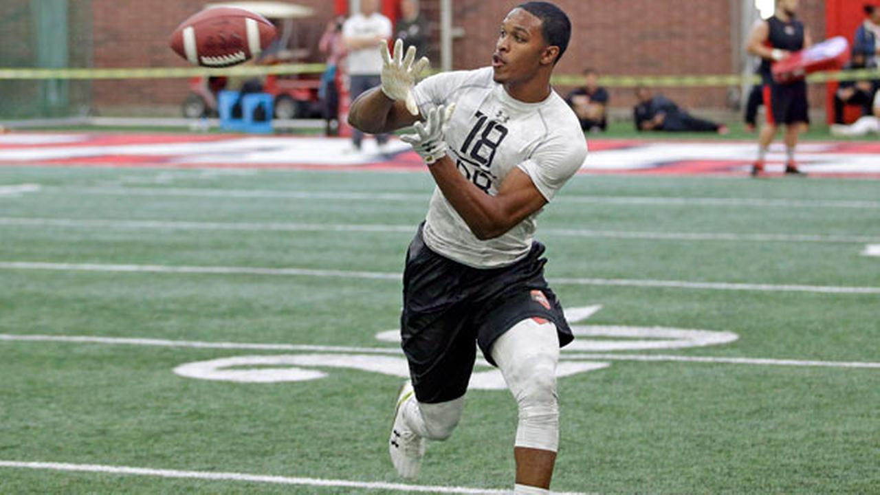 Utah defensive back Eric Rowe catches the ball during a drill at Utahs NFL football pro day Thursday, March 26, 2015, in Salt Lake City.