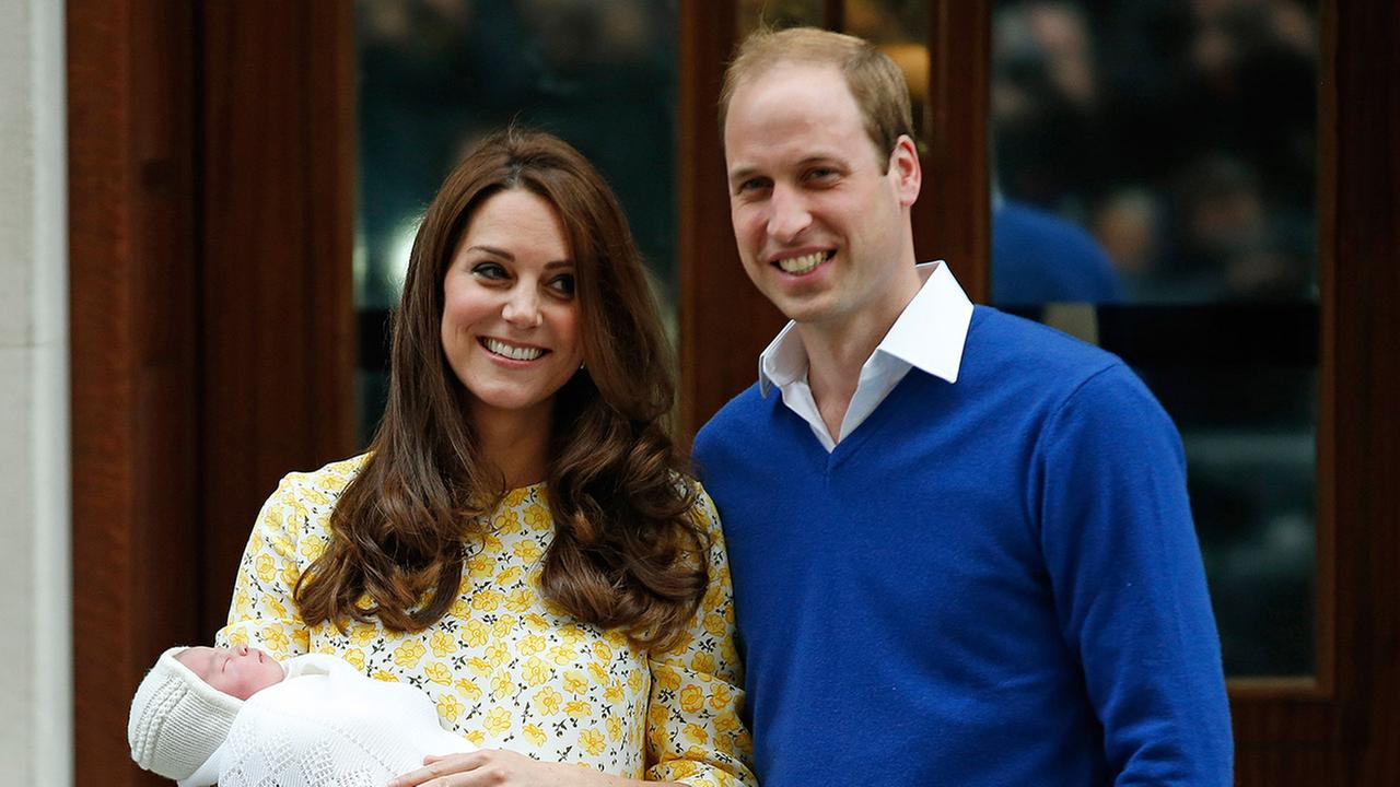 Britains Prince William and Kate, Duchess of Cambridge and their newborn baby princess, pose for the media as they leave St. Marys Hospitals exclusive Lindo Wing, London, Saturday, May 2, 2015.