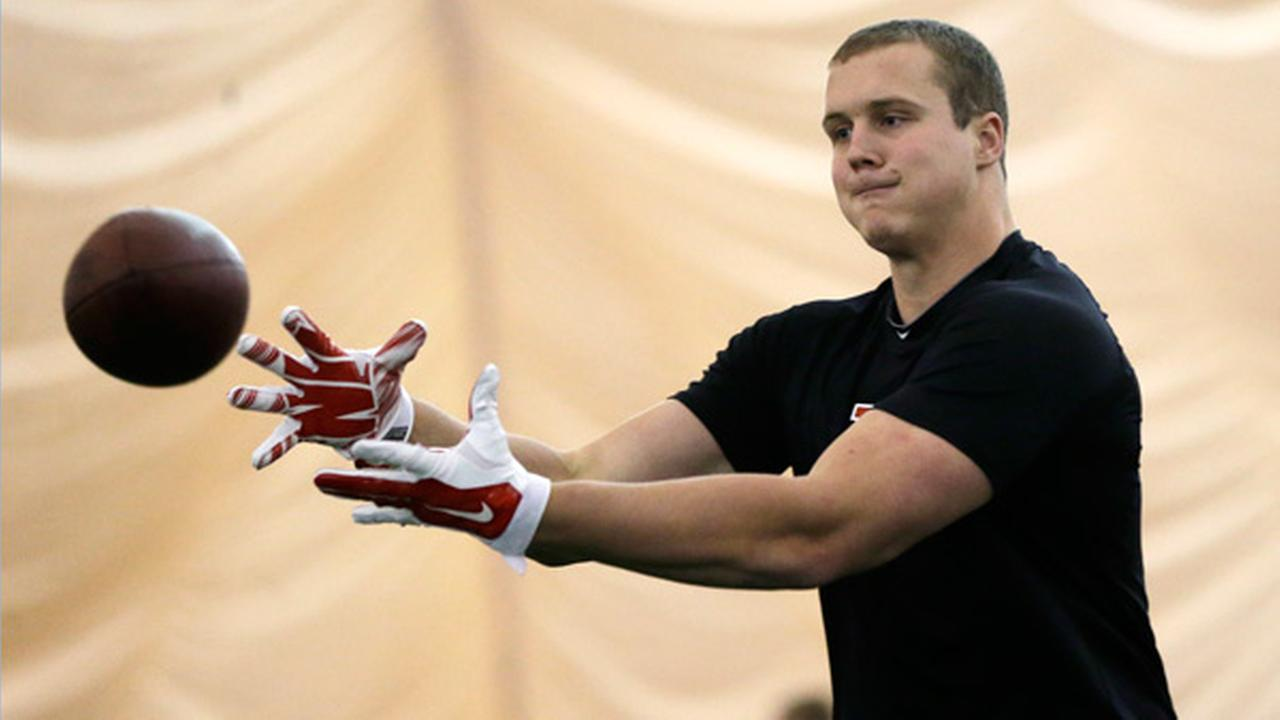Rutgers tight end Tyler Kroft catches a pass during NFL football Pro Day at Rutgers, Wednesday, March 11, 2015, in Piscataway, N.J.