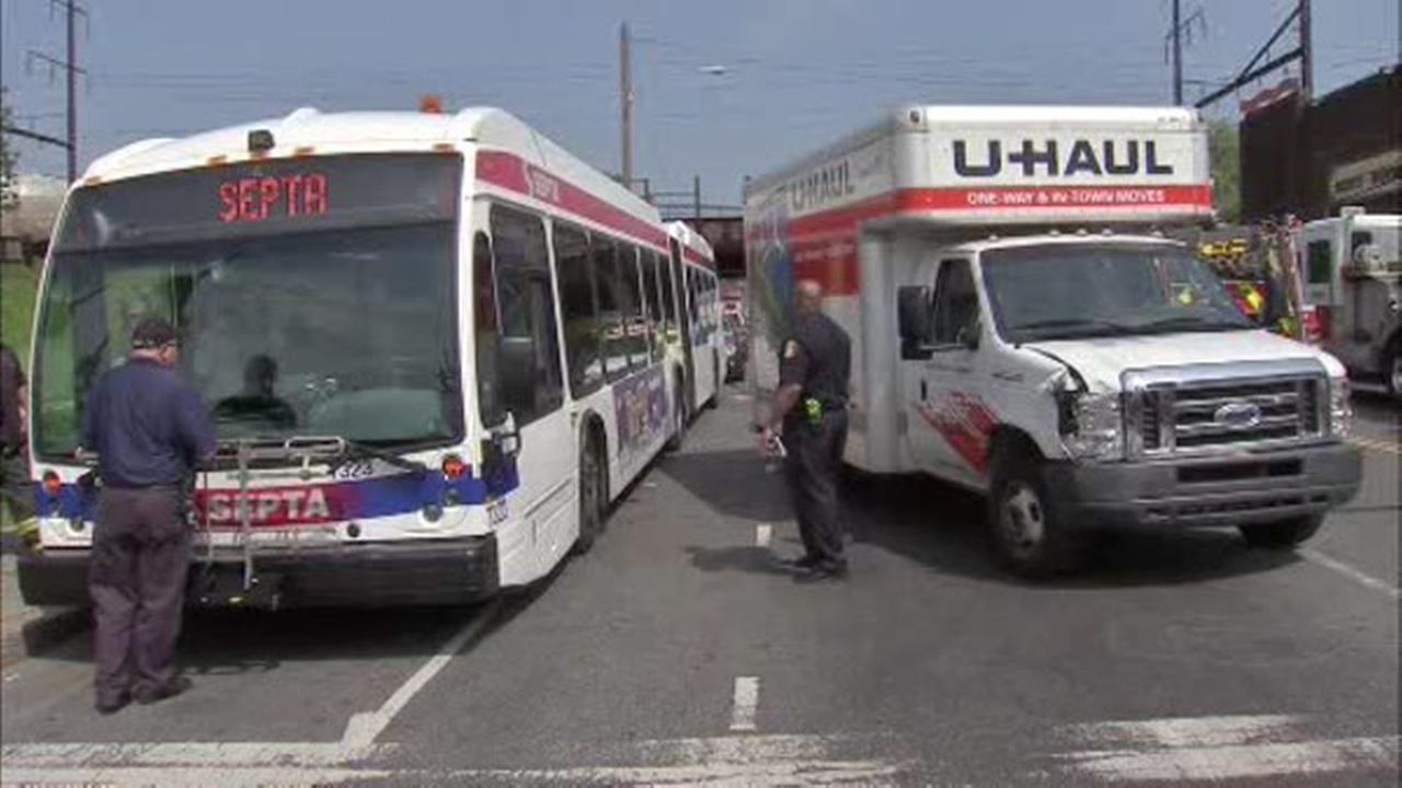 Five people were injured when a SEPTA bus collided with a U-Haul truck in North Philadelphia.