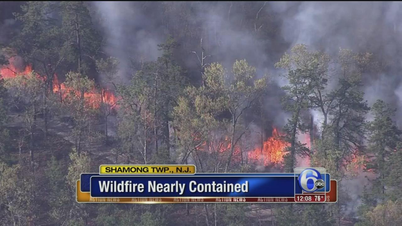 VIDEO: Burlco wildfire nearly contained